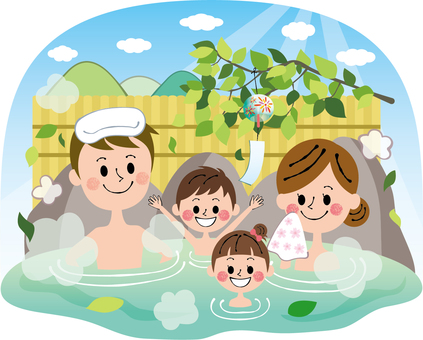 Summer fresh green leaves rock Bath family background hot springs Background