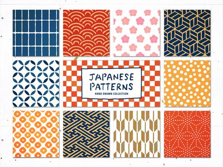 그린 일본풍 패턴