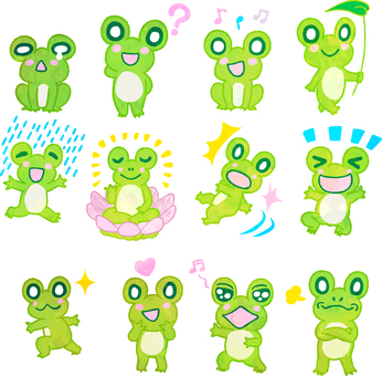A set of 12 illustrated frogs watercolor style transparent ant
