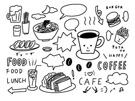 Cafe system hand drawn illustration