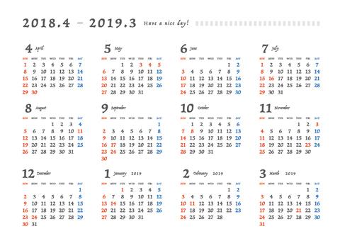 2018 - 2019 calendar _ A 4 yoko