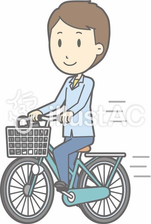 自転車男性-自転車乗る-全身のイラスト