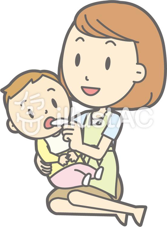 母子-ガーゼ-セットのイラスト