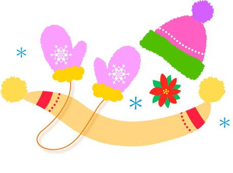 Winter muffler glove hat