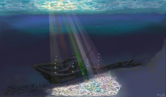 The rainbow shining sea