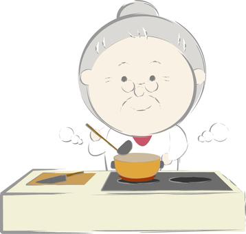 요리를하고있는 할머니