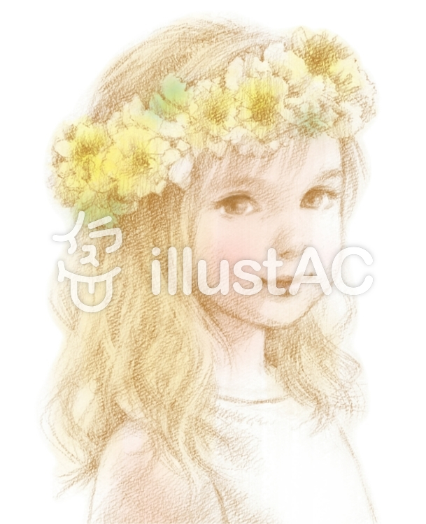 花冠の少女イエローイラスト No 1075967無料イラストならイラストac