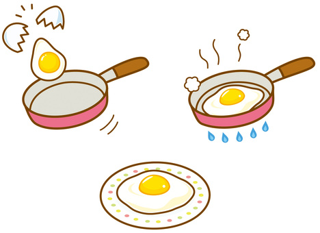 Frying pan and fried egg