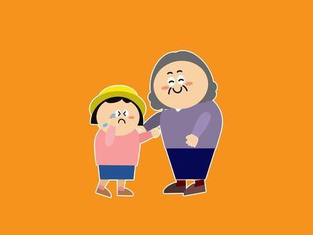 Grandma comforting her grandson