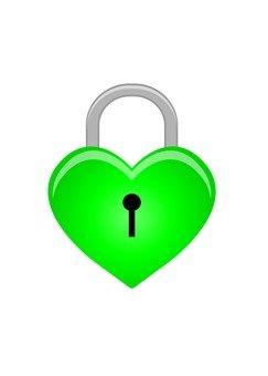 Heart shaped key (green)