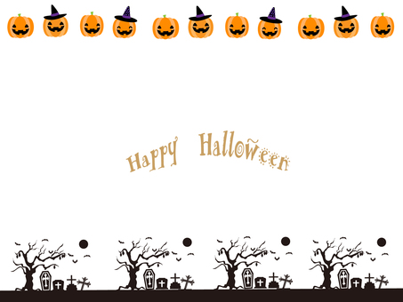 Halloween frame ⑲ (pumpkin and grave)