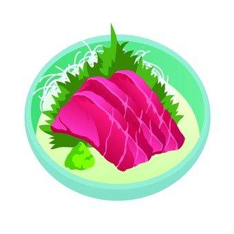 Tuna sashimi (round dish)