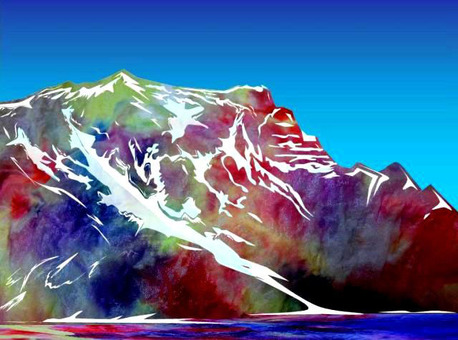 Alps where snow melting begins