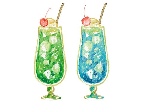 《Watercolor style》 Soda float