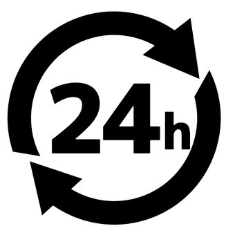 ac 24 Hours Marked Mark Icon Black & White