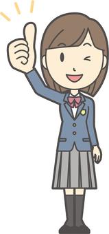 High school student blazer female-049-whole body