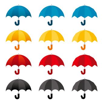 雨傘のイラストカットセット/線なし