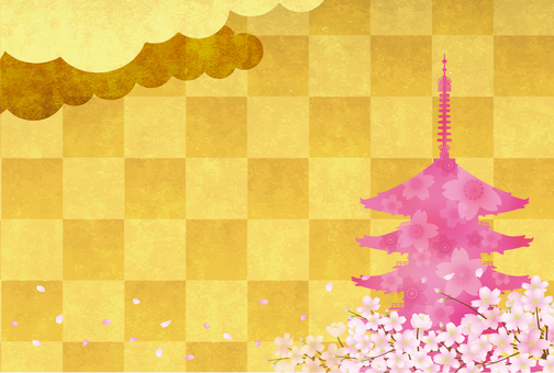 Sakura and five-storied pagoda 3