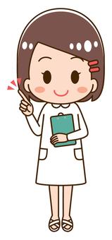 指向手指的女性護士