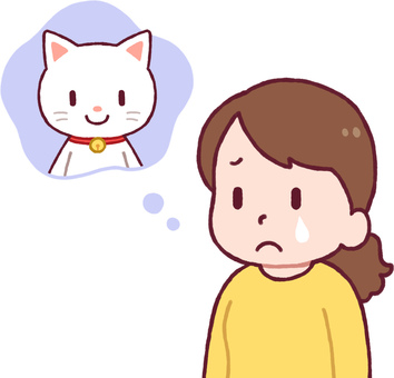 A woman thinking about cats (sad)