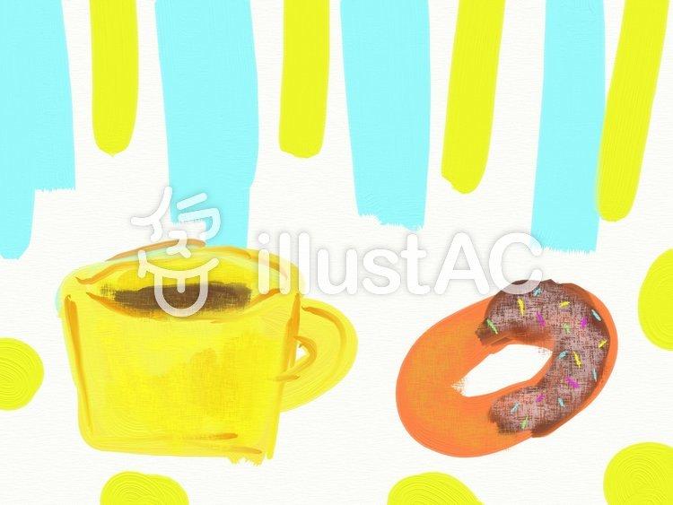 コーヒーとドーナツのイラスト