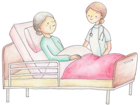 침대에 잠 할머니와 간호사