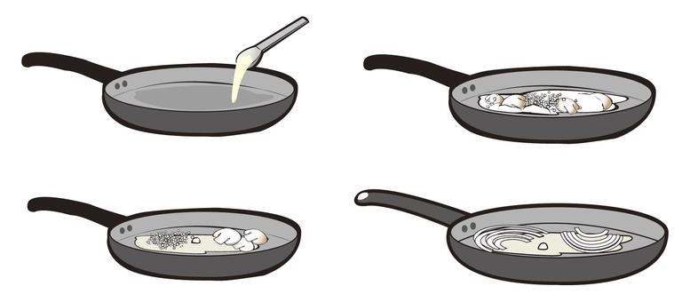 Cook in a frying pan
