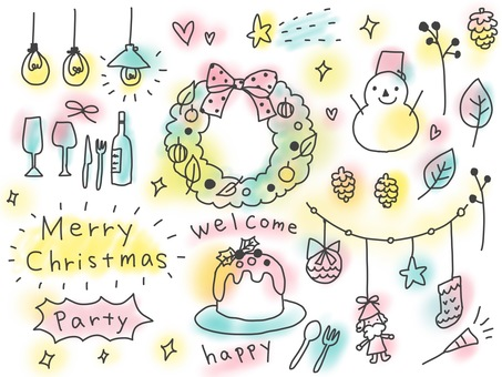 Hand-painted Christmas background white