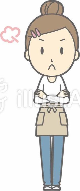 エプロン主婦c-怒る-全身のイラスト