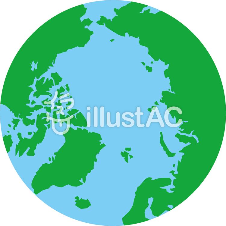 正射図法世界地図-北極中心のイラスト