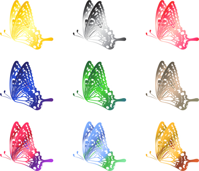 Swallowtail butterfly _ Silhouette _ 9 colors