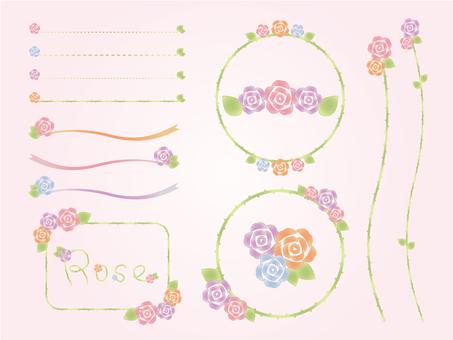 Roses flower material set