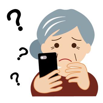 不知道如何使用智能手機的老太太