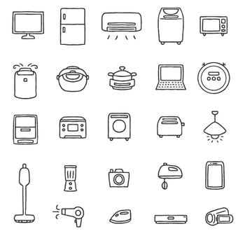 Cute hand-drawn home appliance set / electric appliances