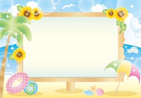 Sea beach and bulletin board