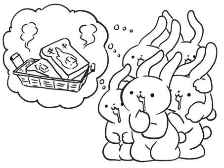 [Line art] Rabbit misunderstanding pandemic