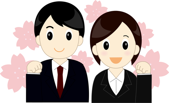New employee's men and women (with cherry blossoms)