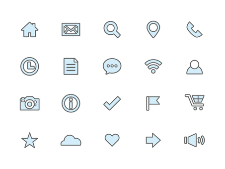 Icon set light blue (outline)