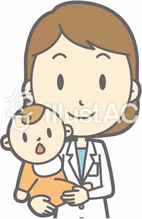 栄養士女性a-抱っこ-バストのイラスト