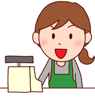 Illustration of a woman hitting a cash register