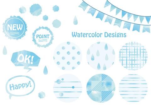 Watercolor pattern set (blue)