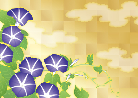 Genji cloud gold color _ morning glory _ purple _ horizontal size