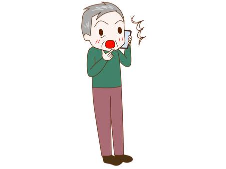 Surprised old man talking on smartphone