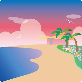 해안이 보이는 풍경 (저녁 · 등대)