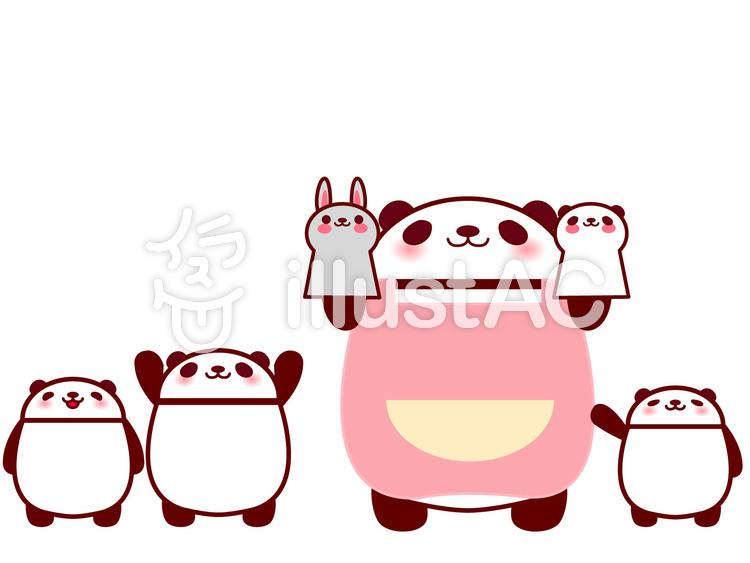 パンダの保育士さんのイラスト