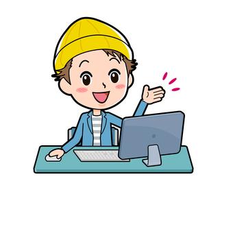 ジャケ男性 パソコン