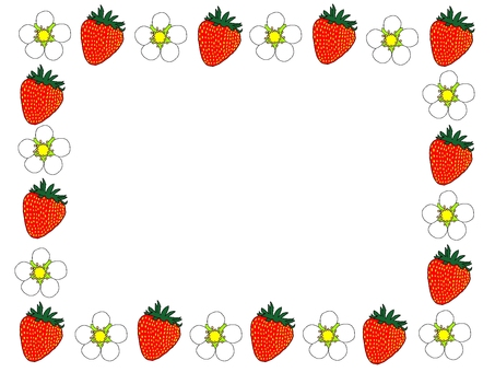Strawberry and strawberry flower frame