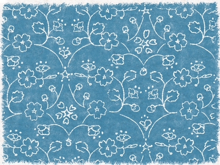Hand-painted cherry pattern (blue)
