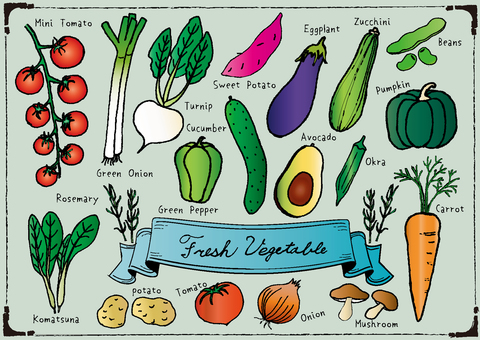 Handwritten vegetable set color