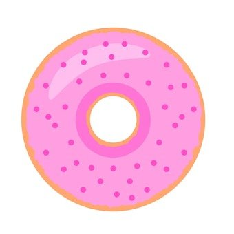 Ring donut with strawberry crush, pink